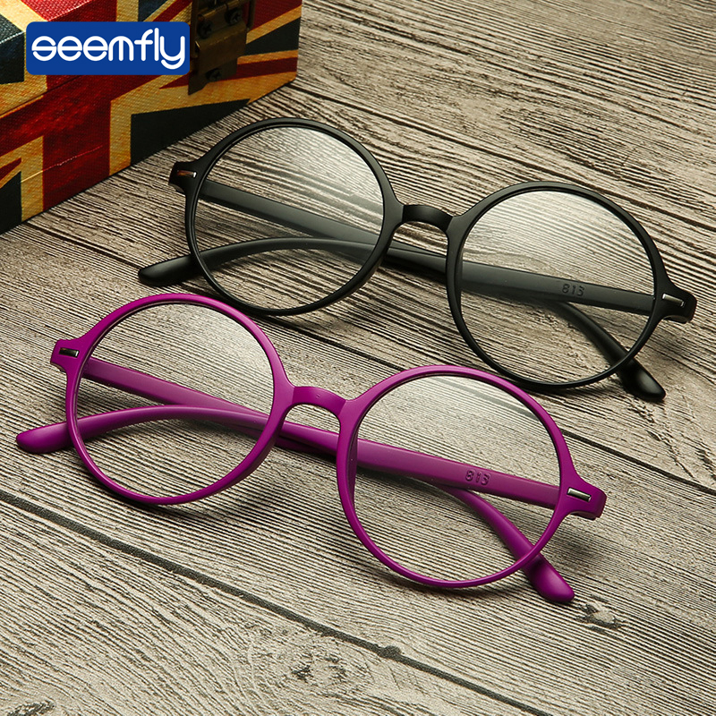 Seemfly New Round Frame Reading Glasses TR90 Stylish Hd resin Reading Glasses Portable Gift For Parents Presbyopic Magnification