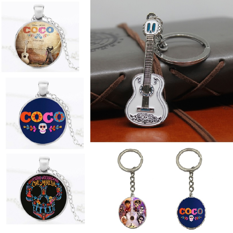 New Movie Dream Coco Character Necklace Miguel Action Figure Pendant Guitar Skull Black Dog Figurine Education