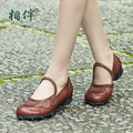 vintage women shoes autumn casual women low heel pumps round toe shallow women shoes Mary Janes Pumps