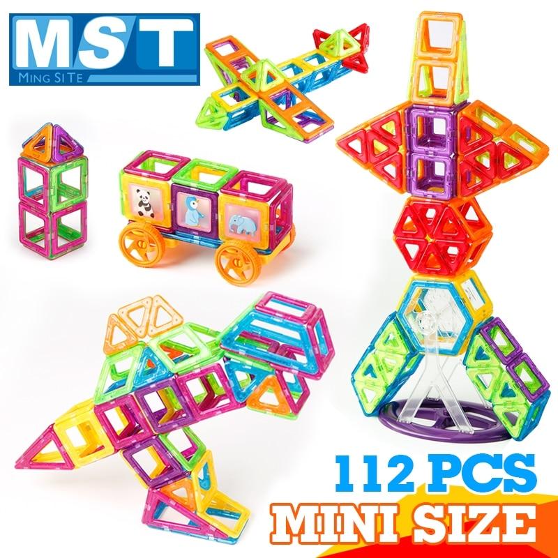112PCS Mini Magnetic Building Blocks Plastic Magnet Patches Educational Toys For Children Magnetic Construction Magnetized Toy