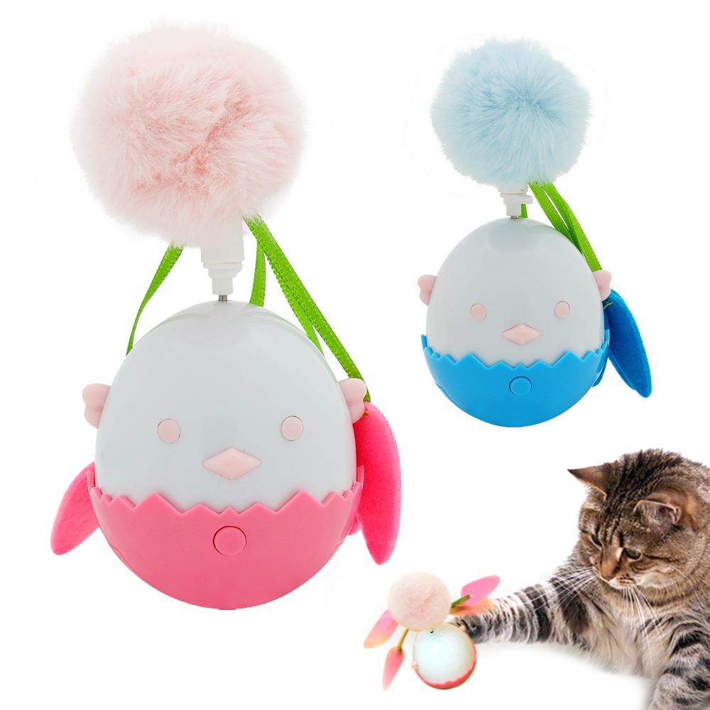 Interactive Cat Toy Kitten Chicken Egg Toys Cats Pet Funny Scratching Toy Ball For Cats Playing Pink Blue Colors