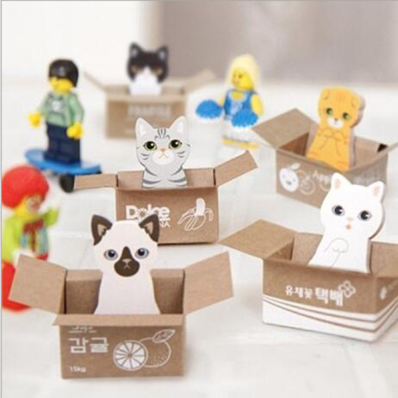 4pcs Kawaii Cute Kitten Cat Box Notebook Sticker Label Children Student Stationery School Office Message Note Supplies