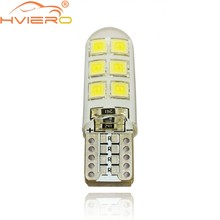 LED blanco para coche T10 W5W DC 12V Canbus 12 SMD de silicona impermeable 194 LED cuña luces bombilla No Error Led estacionamiento luz antiniebla Auto Led