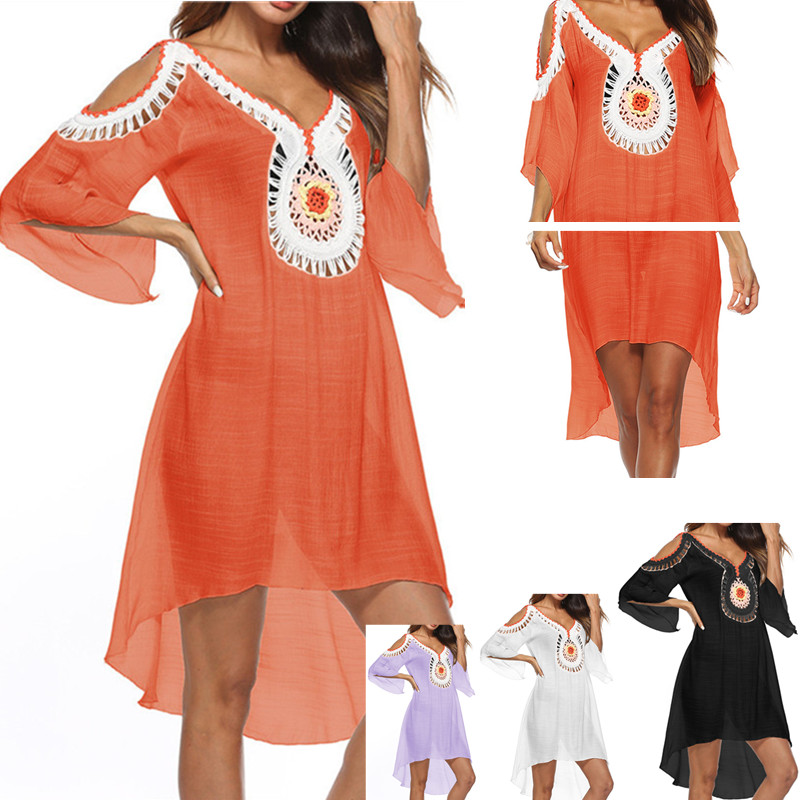 Asymmetry Swim Cover Up Tunic Beach Dress 2020 Summer Women Beach Wear Boho Swimsuit Ups Orange Dresses Long Pareo Beachwear