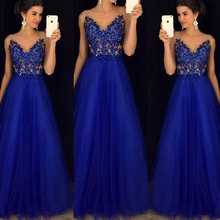 Women's Mesh Maxi Formal Wedding Evening Ball Gown Party Dress Sexy V Neck Sequined Blue Dresses