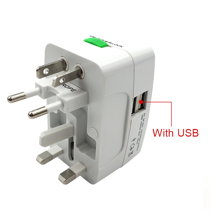 Universal World Charger Adapter Plug All in one Travel AC Power Adapter Converter to USUKAUEU Plug Socket Electrical 2 USB