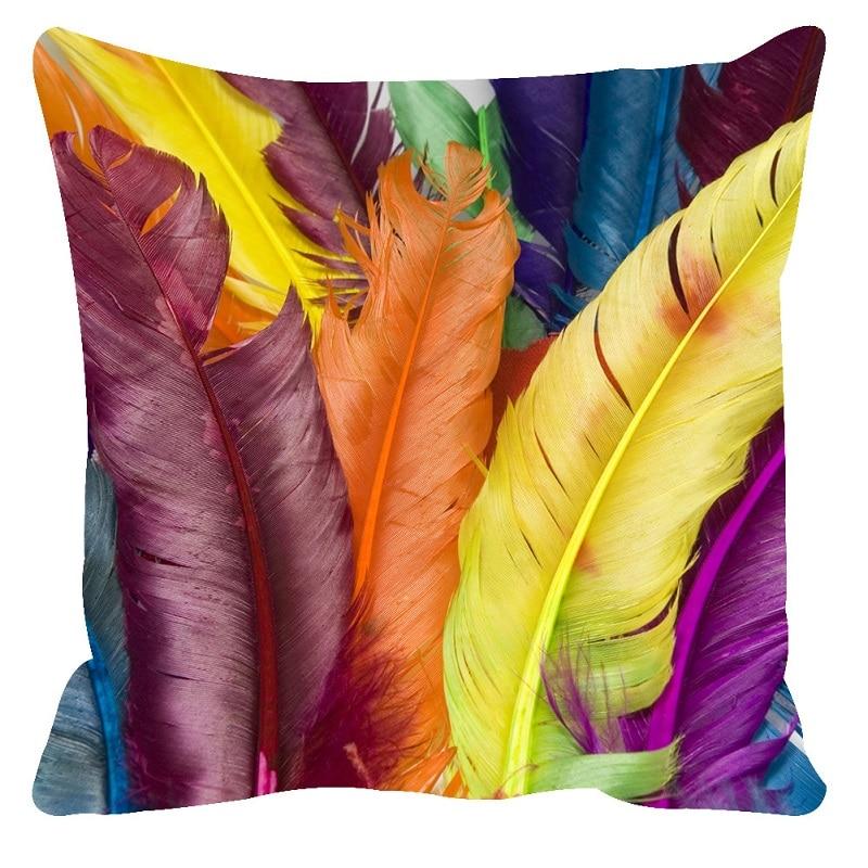 YMQY 3D 쿠션 커버 유로 베개 커버 깃털 패턴 베개 45 * 45,50 * 75 센치 메터 소파 던져 3d 베개 cojines decorativos