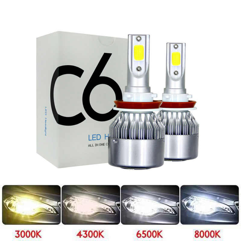 Super bright Auto H7 H11 LED Car Headlight 9012 H1 H3 880 881 H27 H4 LED Dual Color Headlight Kit 3000K 4300K 6000K 8000K