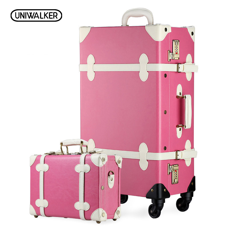 UNIWALKER 12 20 22 24 26 Pink Vintage Suitcase Travel Suitcase,Scratch Resistant Rolling Luggage Bags With Universal Wheels 20 26 dark green vintage suitcase pu leather travel suitcase scratch resistant rolling luggage bags with universal wheels