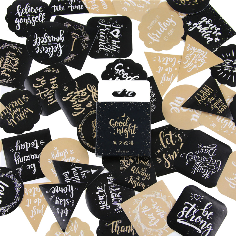 45 Pcs/pack Cute English Blessing Decorative Stickers Adhesive Stickers DIY Decoration Craft Scrapbooking Stickers Gift Statione