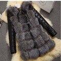 S-4XL 2016 Moda Abrigo de Invierno Mujer Gruesa del Faux Abrigo de piel de Zorro con LA manga de LA PU Femenina Chaqueta De Piel Falsa gilet chalecos de pelo mujer