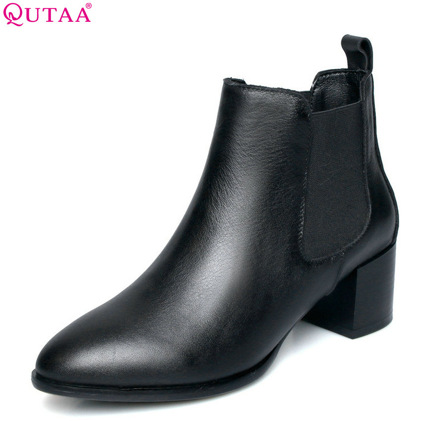 QUTAA 2019 Women Ankle Boots Pu Leather Square High Heel Pointed Toe Fashion All Match Winter Shoes Women Boots Big Size 34-42 women ankle boots pu super high heel pointed toe boots winter autumn boots warm fur big size square heel ankle boots