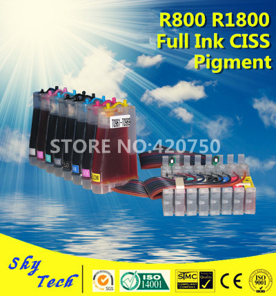 Full Pigment Ink CISS For Epson R1800 R800 , Suit for Epson T0540 T0541 T0542 T0543 T0544 T0547 T0548 T0549 ,With ARC chip