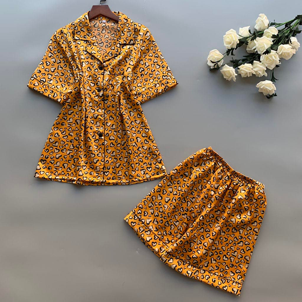 Women'S Sleepwear 2Pcs Summer Pajamas Set Short Sleeve Leopard Print Shorts Pajamas Loose Sleepwear Homewear Pajama Female