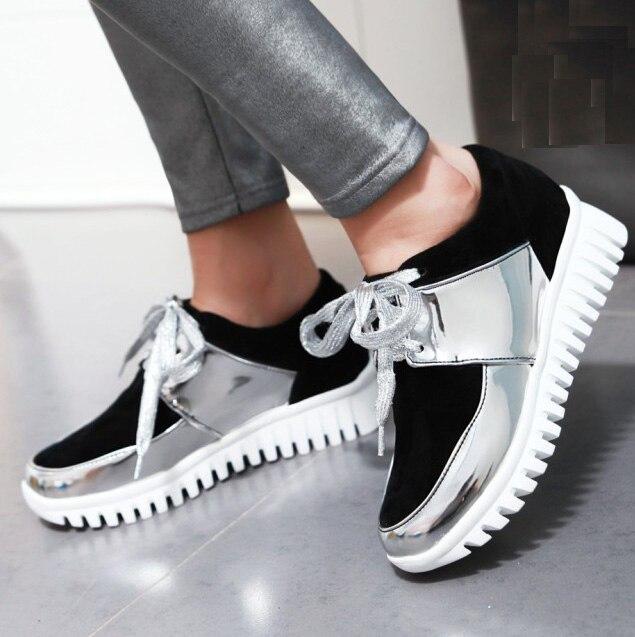 Donne scarpe casual lace up punta punta up rotonda spessa suola scarpe eabc31