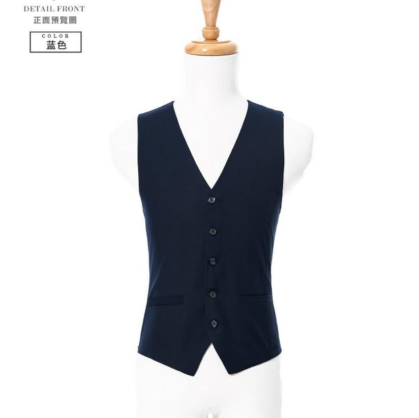11.1 Dark blue man suit vest formal occasions single-breasted v-neck vests simple classic style wedding the groom vest