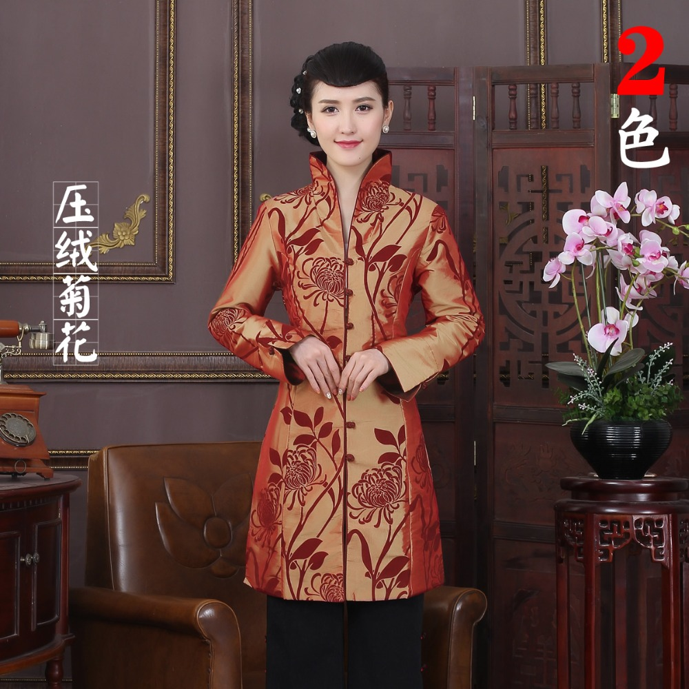 Basic Jackets Hottest Orange Chinese Tradition Womens Flocking Lengthen Coats Dust Coat Trench Vintage Tang Suit Size M L Xl Xxl 3xl