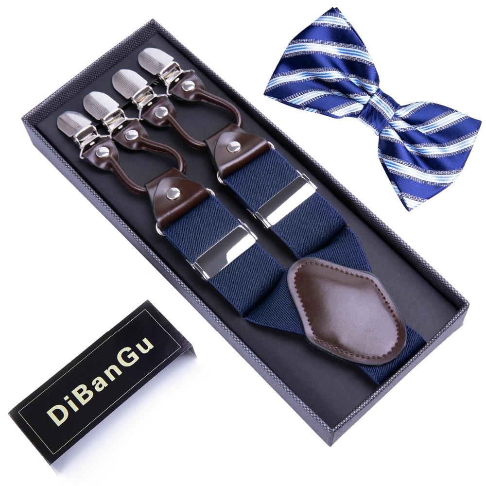 DiBanGu Royal Blue Unisex Mens Suspenders 6 Clip Suspender Striped Bowtie Set Adjustable Elastic Men Braces BD012-LJ041