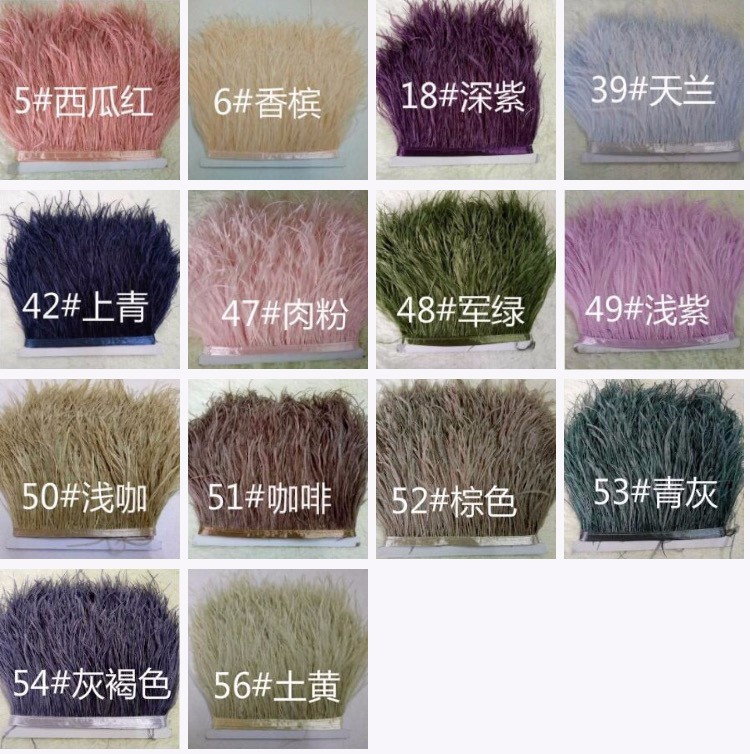 10yards/lots Multicolor Long Ostrich Feather Plumes Fringe trim 10-15cm Feather Boa Stripe for Party Clothing Accessories Craft