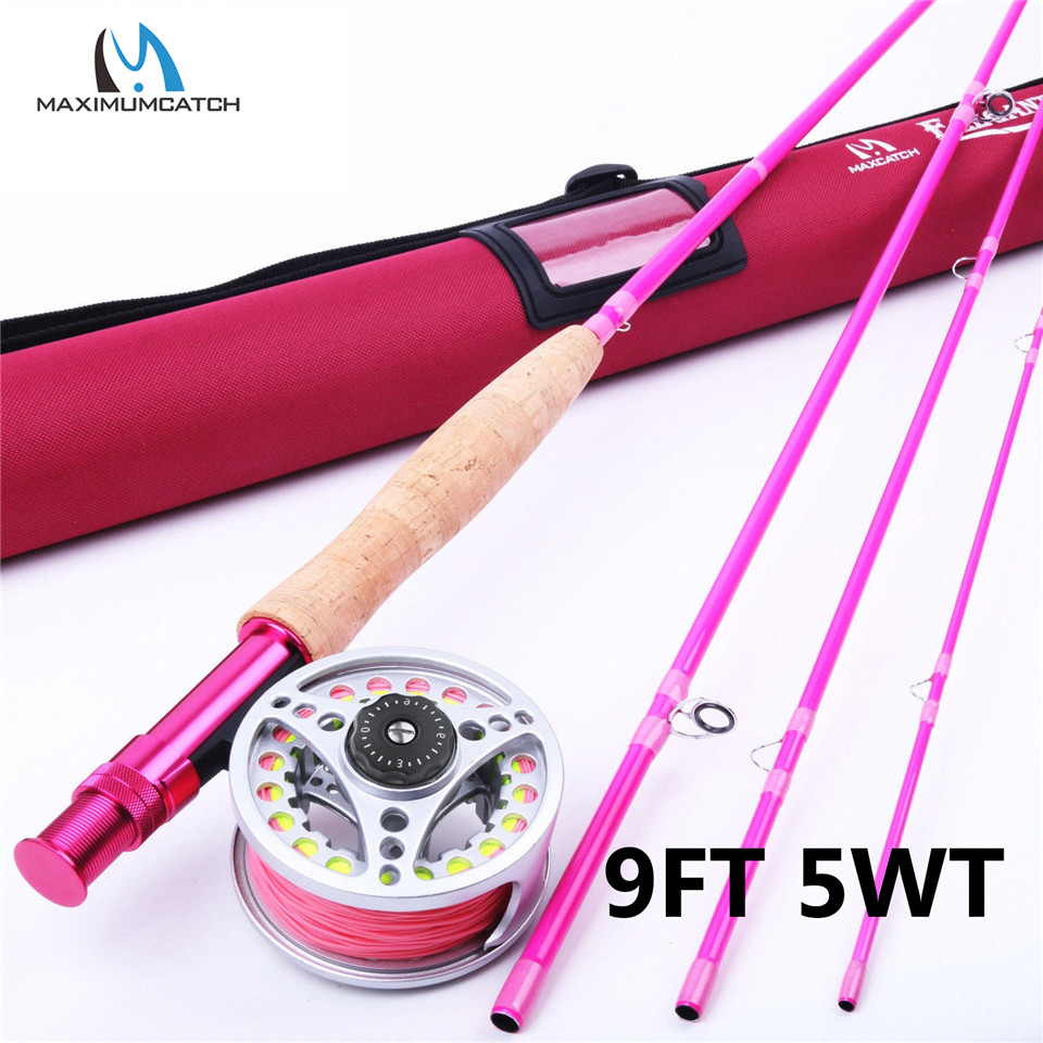 Maximumcatch 9FT 5WT Pink Fly Fishing Rod with Reel and Line Combo Medium-Fast Fly Fishing Rod Kit maximumcatch 5wt 9ft fly fishing outfit fly rod fly fishing combo