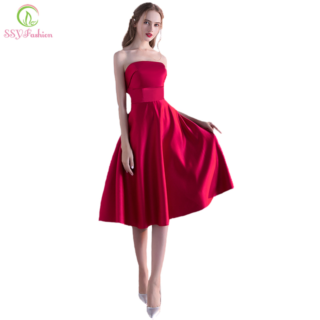 f1f27b9826 SSYFashion 2017 New Simple Satin Wine Red Strapless Cocktail Dress Sexy  Sleeveless A-line Short Party Gown Custom Robe De Soiree