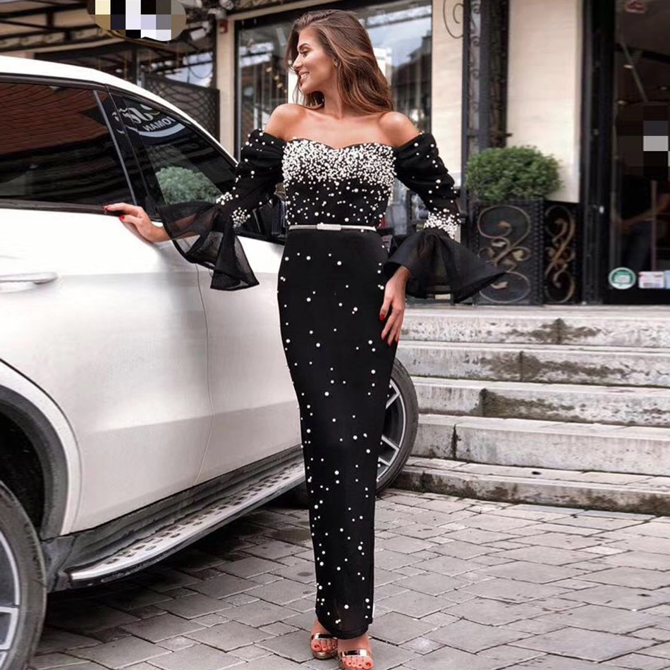 Adyce 2019 New Winter Women Bodycon Celebrity Party Dress Vestidos Sexy Long Sleeve Black Off Shoulder
