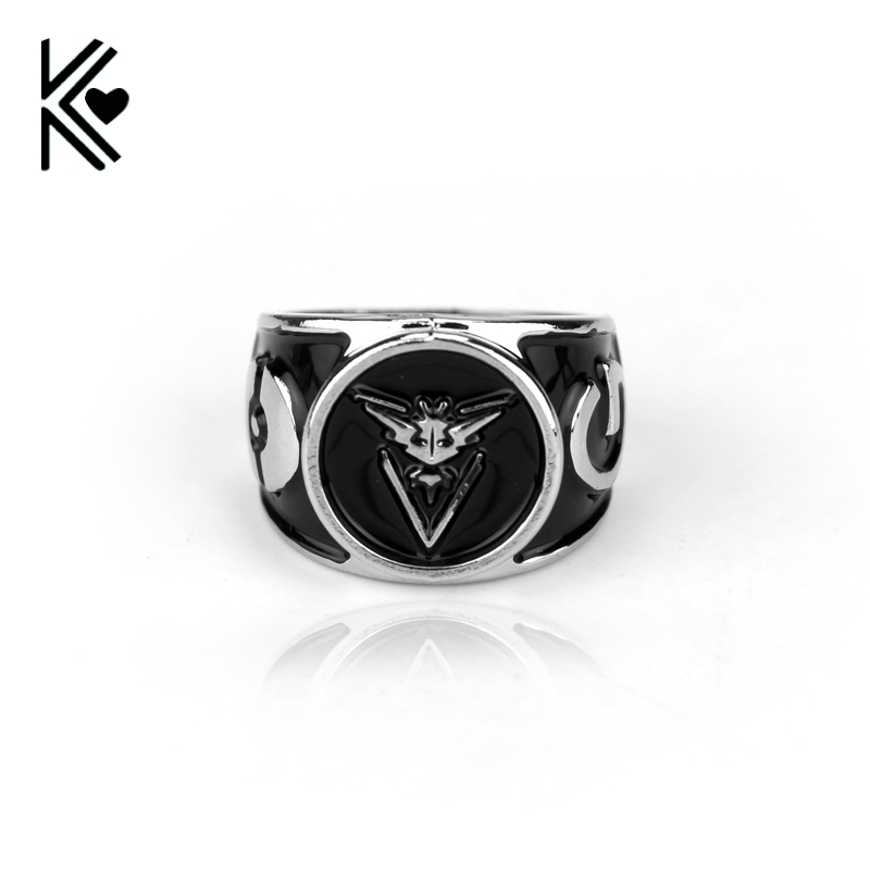 New Pokemon Go Instinct Valor Mystic Silver Rings For Game Fans Jewelry Pocket Monster Alloy Ring Jewelry