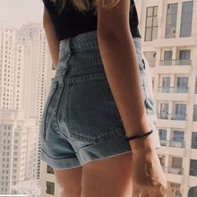 2018 Summer Shorts Women Sexy Vintage High Waist Denim Shorts Mujer Curling Solid Short Pants Europe Style Jeans Pantanlon Femme