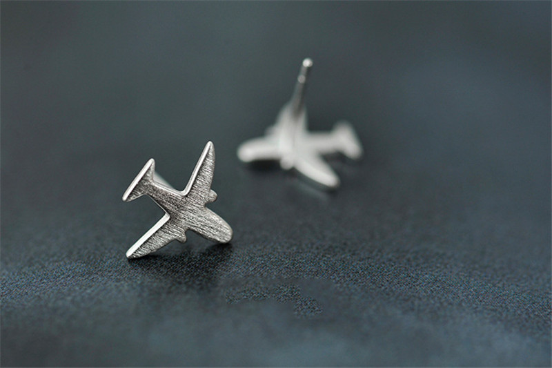 a49a2f951 Real 925 Sterling Silver Aircraft Airplane Plane Stud Earrings Women's  Handmade Pure Silver Jewelry 2017 New CYG002 ...