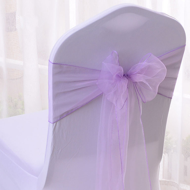 Wedding Chair Covers Lilac Casual Chairs Nz 100pcs Lavender Organza Sashes Cover Bow Ties For Party Event Banquet Decoration