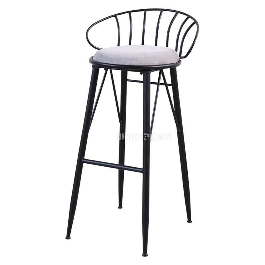 Creatove Modern Decorative Iron Art Bar Chair Metal Padded Leisure Coffee Counter Chair 4 Legs High Footstool Soft Seat Cushion