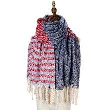 stripe plaid shawls stoles fashion loop yarn long tassel mujer scarf wraps woven jacquard winter cape women