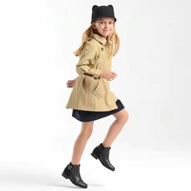 2016 Girls baby Khaki trench coat lapels princess waistband windbreaker kids spring and autumn dress Wholesale