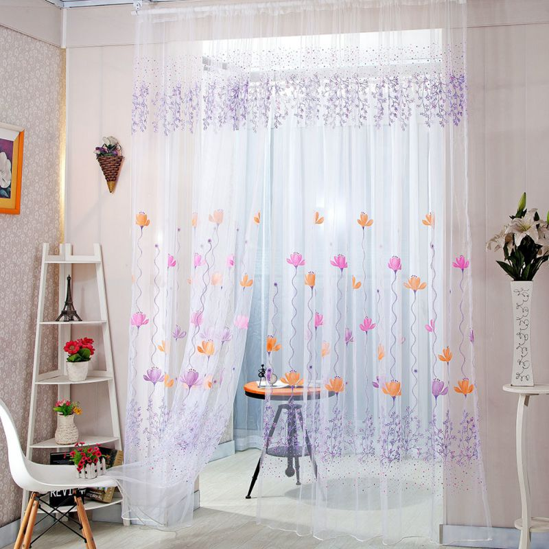 Floral Sheer Valance Curtain Panel Balcony Tulle Room Divider 2018 Hot Sale