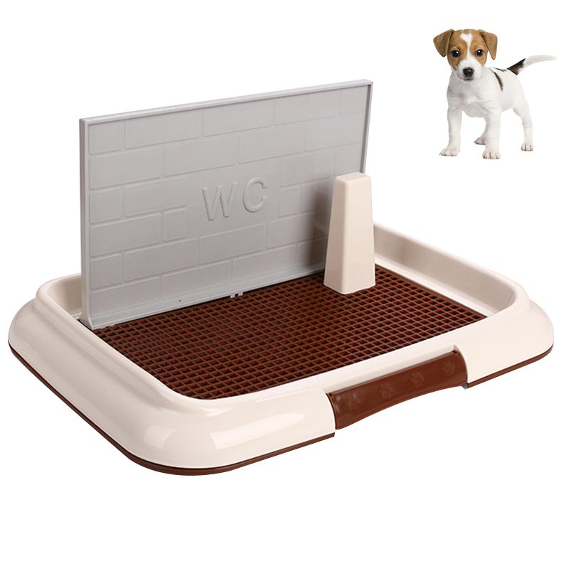 Petacc Plastic Dog Toilet Practical Pet Potty Trainer Portable Dog Indoor Training Toilet with Wall and Pillar