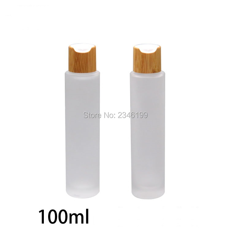100ML 3.4oz Frosted Glass Bottle Bamboo Pump Bottles Empty Cosmetic Packaging Bottles Lotion Nozzle Sprayer Nozzle, 10 Pcs/Lot free shipping promotion 10pcs lot 100ml pet clear bottle 100ml flat lotion bottles sprayer bottles 100ml