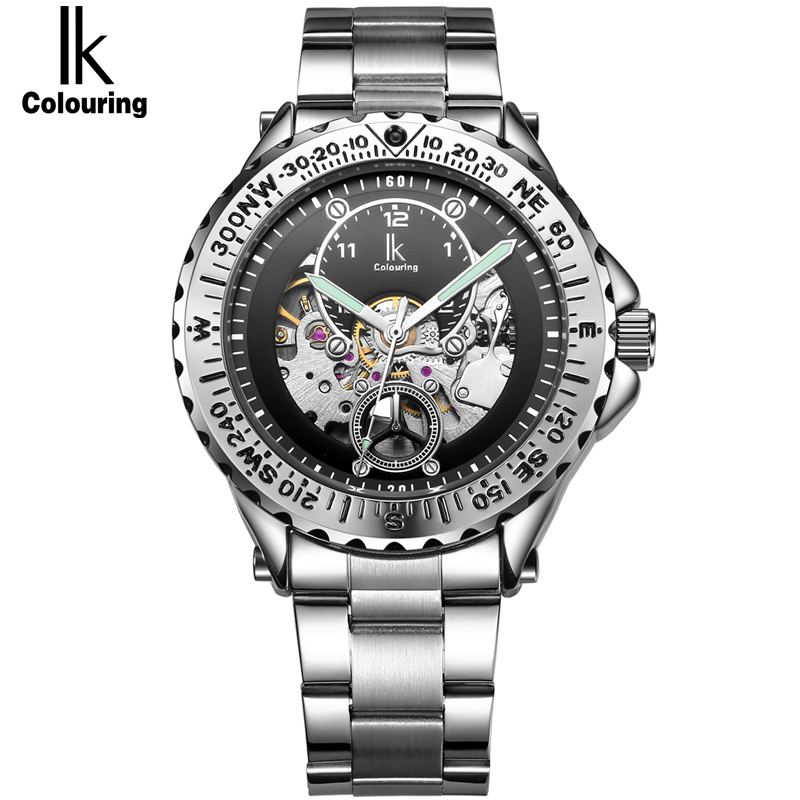 IK Luminous Luxury Brand Skeleton Automatic Mechanical Watches Men Stainless Steel Military Watch Casual  Gift relogio masculino ik luxury fashion casual stainless steel men automatic mechanical watch skeleton watch for men s dress wristwatch free ship