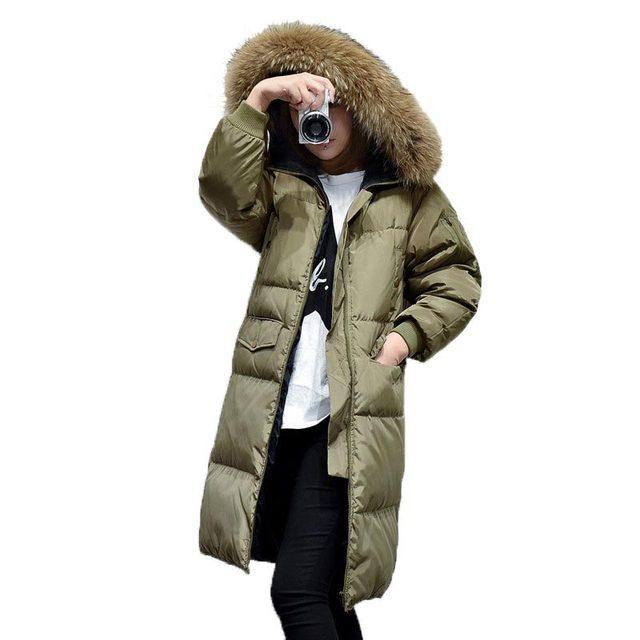 2016 Mulheres Jaqueta de Inverno Pato Branco Para Baixo Plus Size Real Gola de pele Com Capuz Para Baixo Casaco Engrossar Quente Casaco Longo Solto PW0725