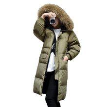 2016 Femmes Hiver Blanc Duvet de Canard Veste Plus La Taille Réel Col de fourrure À Capuchon Vers Le Bas Manteau Chaud Épaississent Long Manteau Lâche PW0725