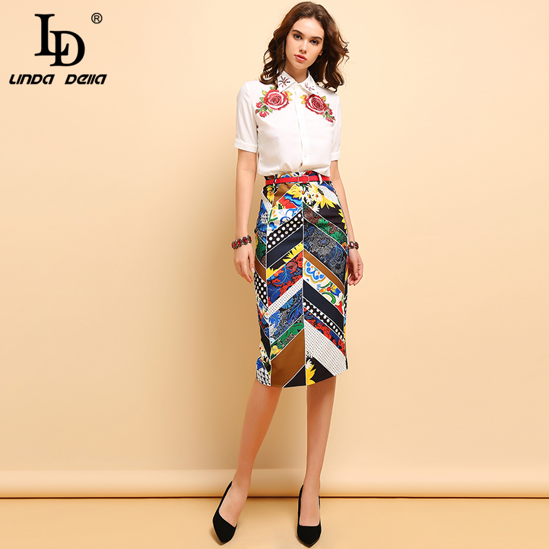 LD LINDA DELLA Summer Fashion Suits Women's Elegant Beading Sequined Shirt And Vintage Floral Printed Sashes Skirt 2 Pieces Set