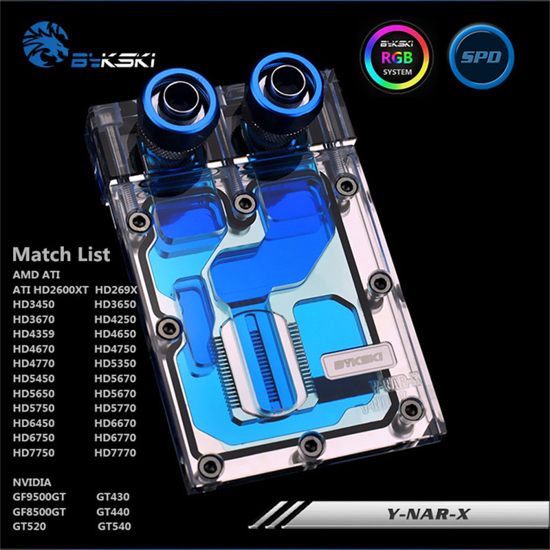 Bykski Y-NAR-X HD7770 260X GTX750TI 650 9600GT wasser-gekühlt kopf GPU Wasser Block Halbe Abdeckung