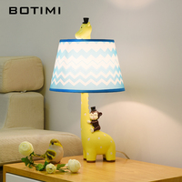 BOTIMI Cartoon Table Lamp With Fabric Lampshade For Bedroom Yellow Children Bedside Lamps Kids Carton Reading Lighting Fixtures
