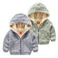 Male child plus velvet outerwear children's clothing winter 2016 sportswear baby knitted top child casual coat