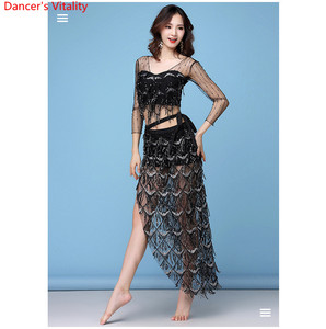 Image 4 - New Fashion Womens Clothing Belly Dance Elastic Sequin Mesh Sparkling Over Skirt Fringed Scarf Hip Costume Set 2pcs top & Belt