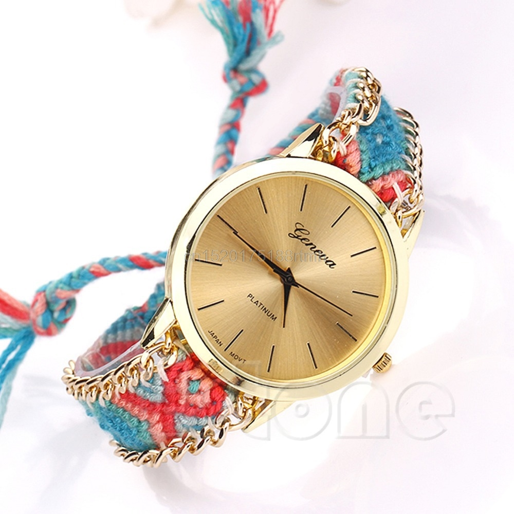 Fashion National Wind Braid Bracelet Round Dial Wrist Analog Watch For Women #T50P# Drop ship analog watch
