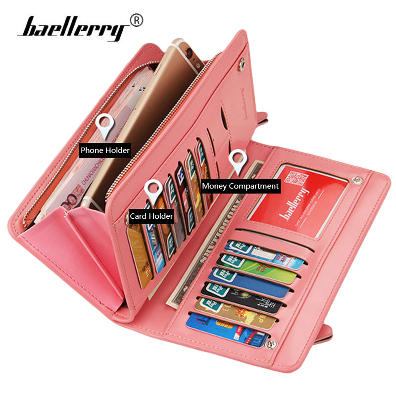 Baellerry Women Wallets Long PU Leather Clutch Ladies Purses 2017 Fashion Phone Pocket Hasp Dollar Price Wallet Women Big Purse reiwalker women wallets brand design pu leather purse hasp fashion dollar price long wallets for female