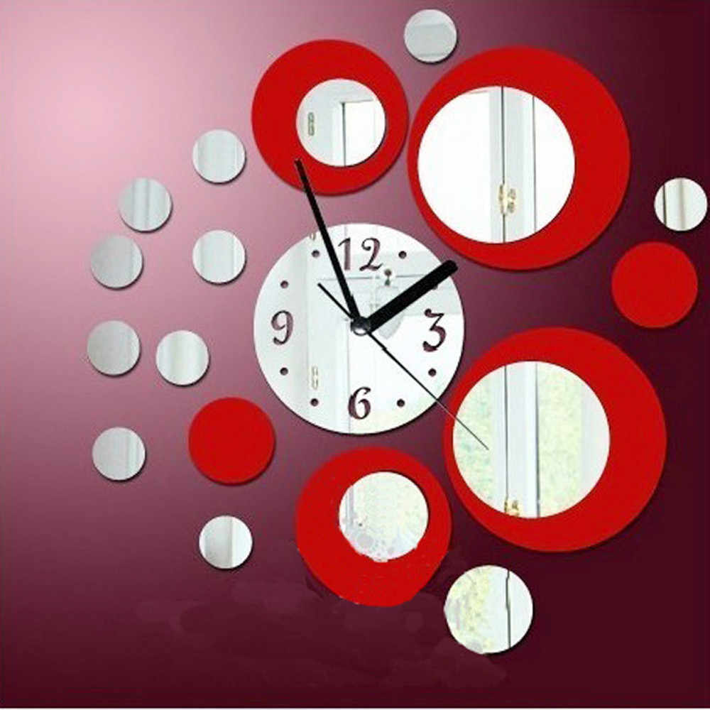 Modern Circles Acrylic Red Mirror Style Wall Clock Removable Non-toxic Decal Art Sticker Decor creative DIY Wall Sticker F350