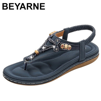 BEYARNEBohemia Women Ladies Fashion Crystal Bead Flat Slipper Sandals Casual Sexy High Quality Outsid Shoes Med (3cm-5cm) - discount item  48% OFF Women's Shoes