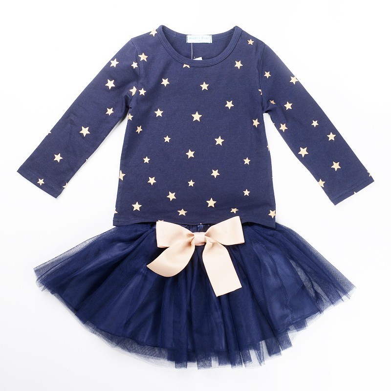 ФОТО children girls designed long sleeve clothes set 2 pcs star pattern cotton hoodies sweaters + pettskirt skirt suit hot