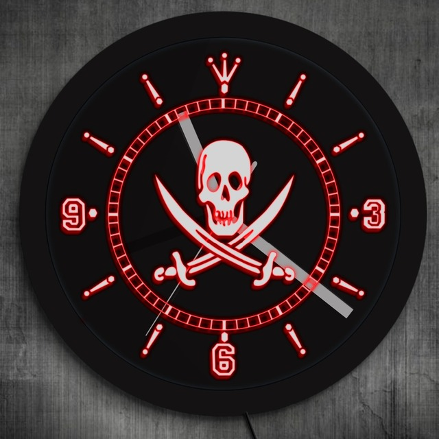 1Piece Jolly Roger Pirate Skull With Crossed Swords LED Neon Effect Wall Clock With LED illumination Pub Bar Wall Watch Clock